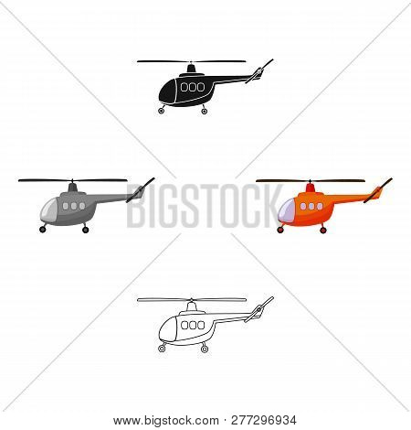Air Transport Helicopter. Transport With Blades.transport Single Icon In Cartoon Style Vector Symbol