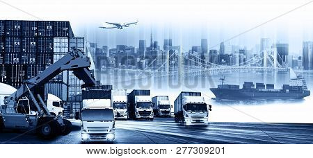Container Ship In Import Export And Business Logistic. Trade Port. Shipping, Cargo To Harbor And Car