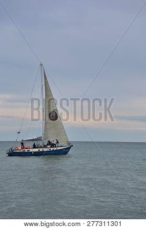 Sochi, Russia September 29, 2016: View Of A Sailboat In The Black Sea Sochi, Russia