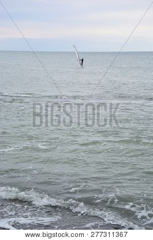Windsurfing On The Black Sea In The City Of Sochi, Russia