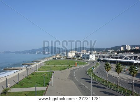 Sochi, Russia October 6, 2016: View Of The Town Of Adler. Sochi, Russia