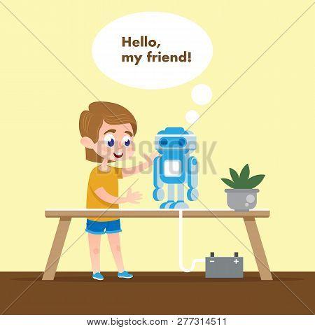 Smart Kid With Talking Robot Model. Flat Cartoon. Boy In School Tech Class Talk And Play With Roboti