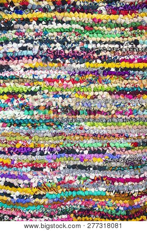 Beautiful Background Of Many Colorful Fabric Scraps
