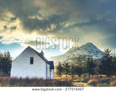 Climbers Base, White House At Glencoe Mountain, Scottish Highlands, Scotland. Sunny Spring Day, Febr