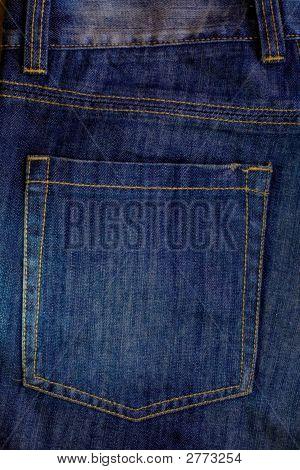 Blaue Jeans Gesäßtasche