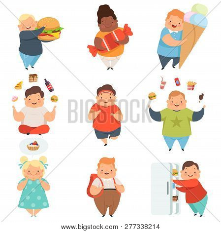 Overweight Boys And Girls Set, Cute Chubby Children Cartoon Characters With Fast Food Vector Illustr
