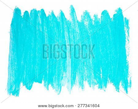 Turquoise Acrylic Background. Bright Painted Banner Isolated