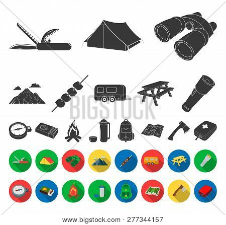 Rest In The Camping Black, Flat Icons In Set Collection For Design. Camping And Equipment Vector Sym