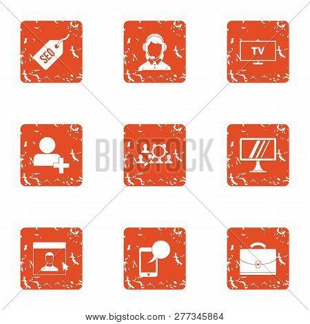 Online Conversation Icons Set. Grunge Set Of 9 Online Conversation Icons For Web Isolated On White B