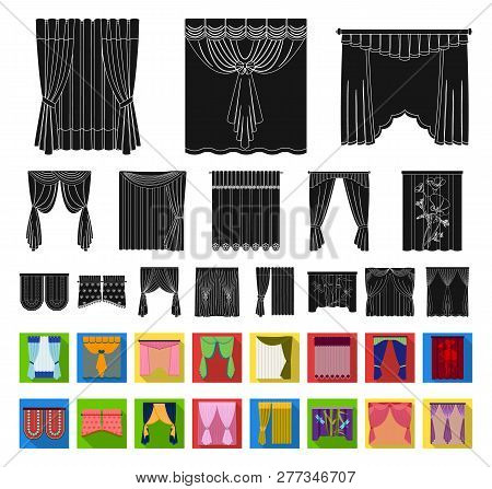Different Kinds Of Curtains Black, Flat Icons In Set Collection For Design. Curtains And Lambrequins
