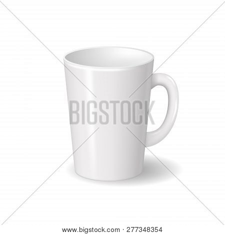 Realistic Isolated White Ceramic Cup With Shadows. For Drinks, Coffee, Tea Template For Mock Up Bran