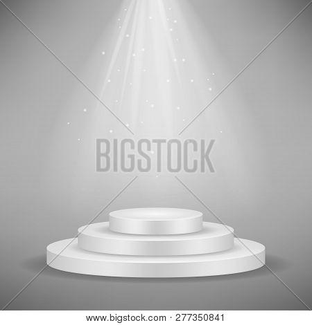 Realistic White Round Podium, Pedestal Or Platform Illuminated By Spotlights On Gray Background. Sta