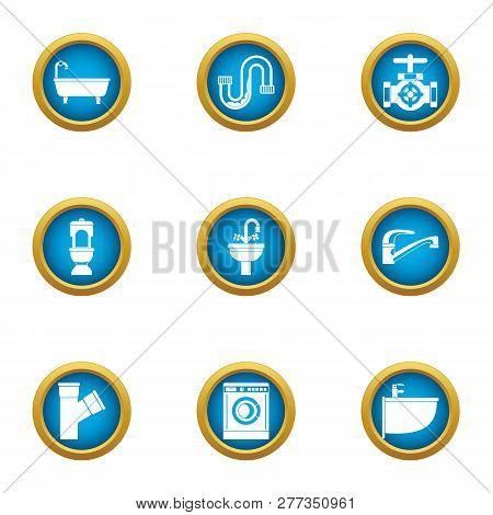 Latrine Icons Set. Flat Set Of 9 Latrine Icons For Web Isolated On White Background
