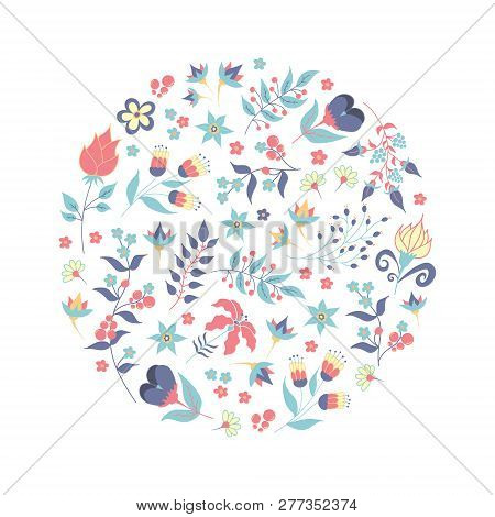 Hand Drawn Style Summer Or Spring Floral Decorative Design Element Or Logo In Circle Shape. Business