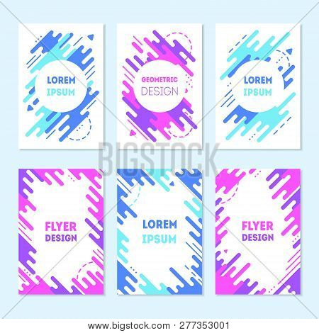 Set Of Colorful Trendy Cards With Flat Dynamic Design. Blue And Purple Geometric Shapes In Motion, M