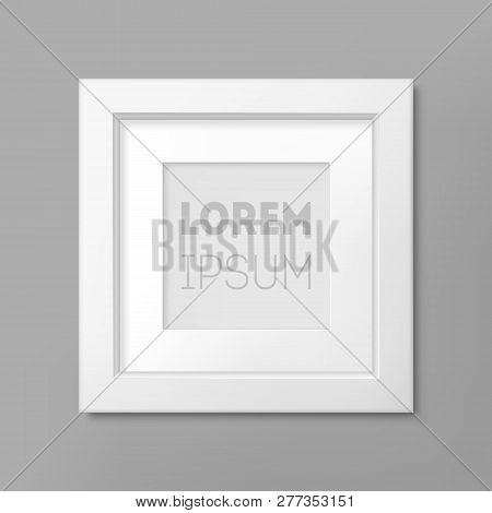 Realistic White Square Frame On Gray Wall Background, Border For Your Creative Project Presentation.