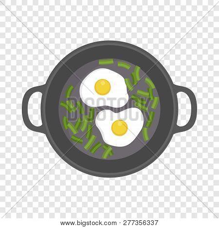 Egg On Griddle Icon. Flat Illustration Of Egg On Griddle Icon For Web Design