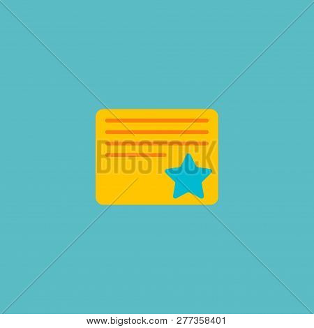 Starred Task Icon Flat Element. Vector Illustration Of Starred Task Icon Flat Isolated On Clean Back