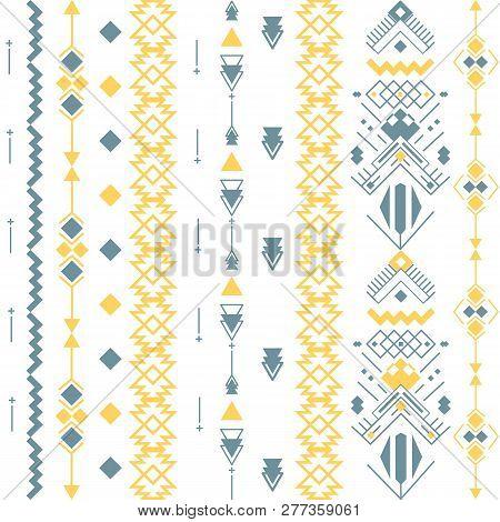 Aztec American Indian Pattern Tribal Ethnic Motifs Geometric Vector Background. Modern Native Americ