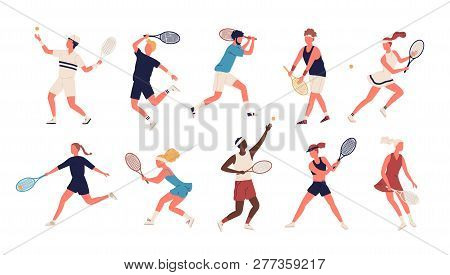 Collection Of Men And Women Dressed In Sports Apparel Playing Tennis. Set Of Sportsmen And Sportswom