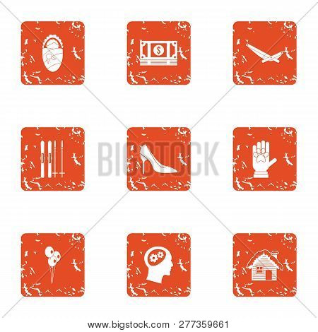 Money for the child icons set. Grunge set of 9 money for the child icons for web isolated on white background poster