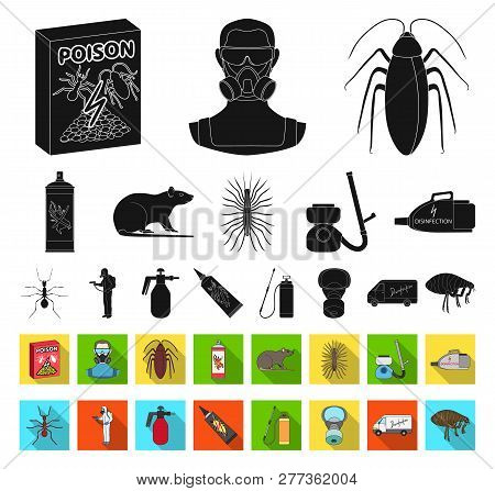 Pest, Poison, Personnel And Equipment Black, Flat Icons In Set Collection For Design. Pest Control S
