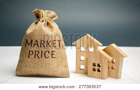 The concept of the market price of housing and premises for business. Buying and selling real estate at average market prices. Pricing cost per square meter of real estate. Property appraisal value poster