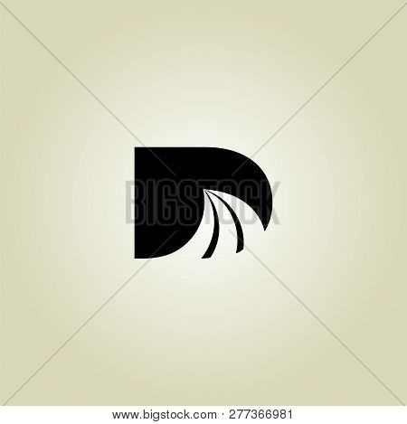 Letter D Logo Design Subway Tunnel Tube With Rail. Underground Railway, Mine Rail Line In Darkness V