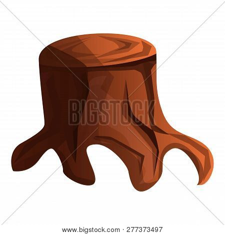 Old Tree Stump Icon. Cartoon Of Old Tree Stump Icon For Web Design Isolated On White Background