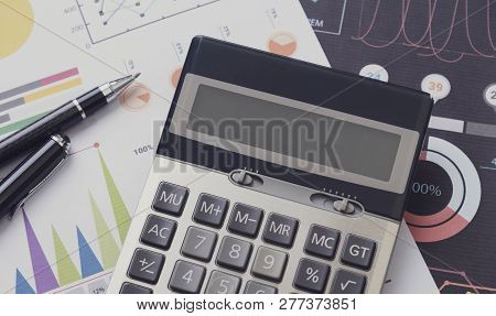 Financial And Calculate On Desk Office. Business And Finance Concept.