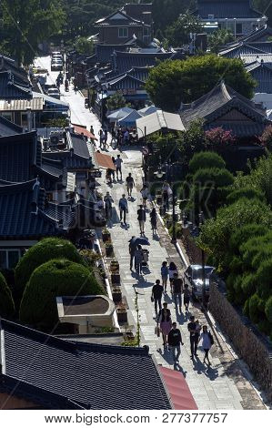 Jeonju, South Korea - September 2018: View Of Jeonju Hanok Village, Popular Tourist Attraction With