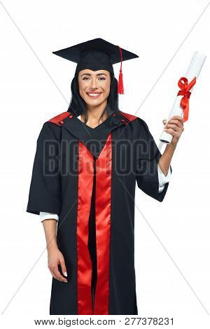 Portrait Of Happy Alumni Of University On White Background. Young Lady In Black And Red Academical D