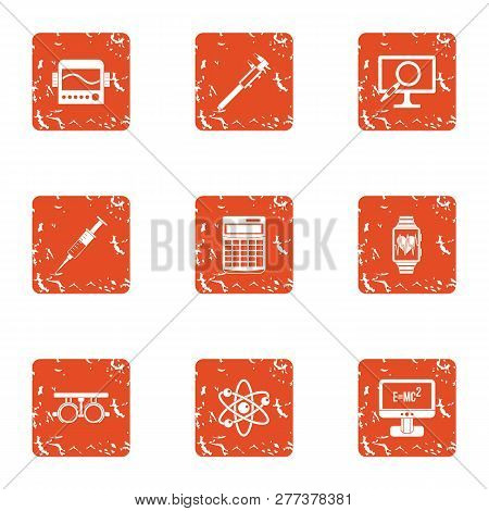 Scientific Progress Icons Set. Grunge Set Of 9 Scientific Progress Icons For Web Isolated On White B