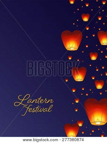 Flyer, Poster Or Invitation Template With Traditional Asian Lanterns Flying In Night Sky. Colored Ve