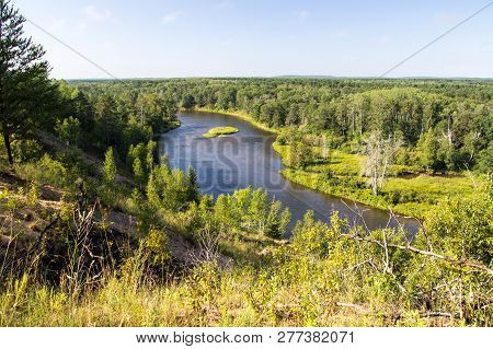 Au Sable River Valley Overlook. Scenic Overlook Of The Au Sable River As It Winds Through The Wilder