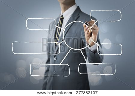 Message Bubbles For Business And Finance Concept. Businessman Is Writing Blank Message Bubbles, For