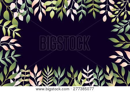 Vector Illustration Of Spring Leaves In Flat Style. Floral Dark Blue Background With Copy Space For
