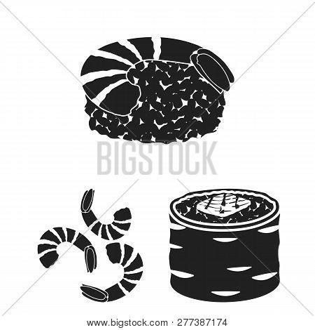 Isolated Object Of Sushi And Fish Symbol. Set Of Sushi And Cuisine Vector Icon For Stock.