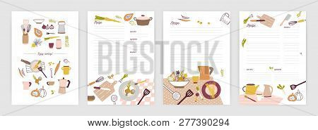 Collection Of Recipe Card Or Sheet Templates For Making Notes About Meal Preparation And Cooking Ing