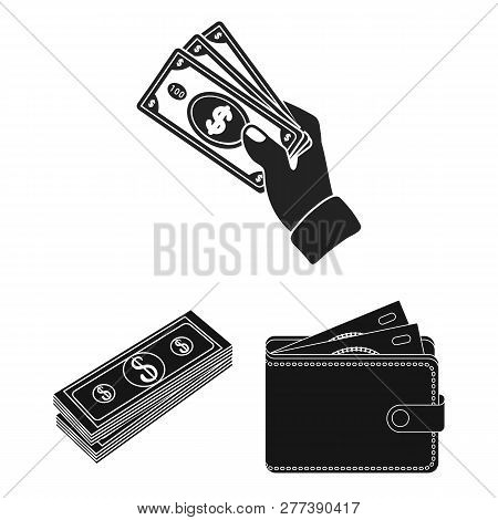 Isolated Object Of Cash And Currency Logo. Set Of Cash And Stack Stock Symbol For Web.