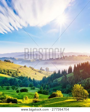 Bright rolling countryside around a farm in the morning light. Picturesque day and gorgeous scene. Location place Carpathian, Ukraine Europe. Wonderful image of wallpaper. Explore the world's beauty.