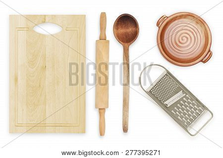 Number Of Kitchen Utensils Isolated On White, Top View