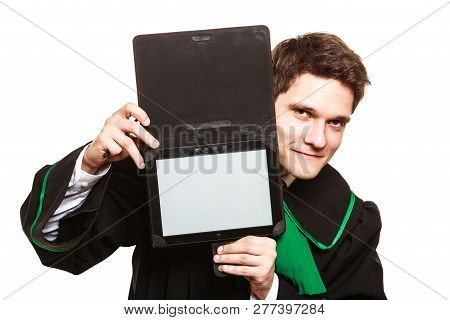 Technology And Career Legal Advice. Young Male Lawyer Hold Tablet Portable Computer Show Advice And