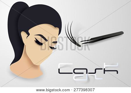 Eyelash Extension. Beautiful Eyelashes Ready Design Template In Paper Volumetric Style Layers In Col