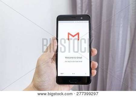 Moscow, Russia - January 08, 2018: Hand Holding A Smartphone With Google Gmail Application Icon. Gma
