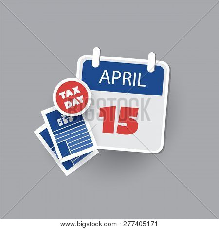 Usa Tax Day Icon - Calendar Design Template - Tax Deadline, Due Date For Federal Income Tax Returns: