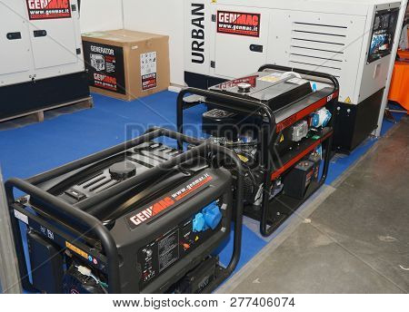 Kyiv, Ukraine - January, 15, 2019:  Mobile Power Backup Generators  For Sale In The Market. Portable