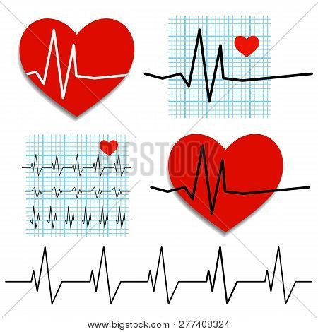 Cardiogram Of Heart Rate. Vector Illustration On The Theme Of Heart Health. Eps 10