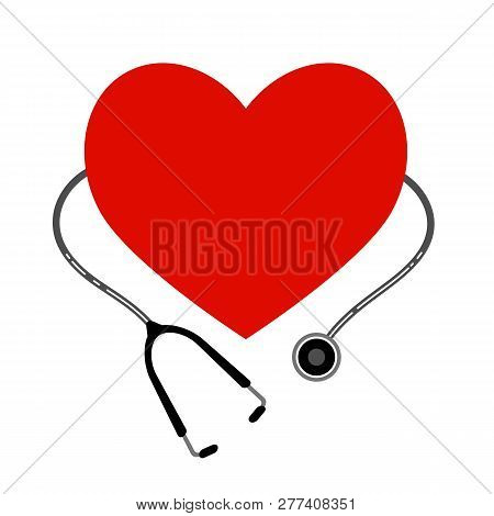 Heart With A Stethoscope. Vector Icon Isolated On White Background. Eps 10
