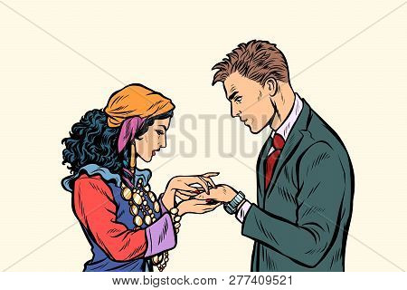 A Gypsy Telling Fortunes By The Hand To The Businessman. A Fortune-teller Palmist. Pop Art Retro Vec